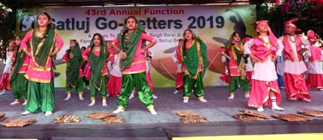 Students performing on the stage during 43rd Annual Function at Satluj Public School, Sector 2, Panchkula.